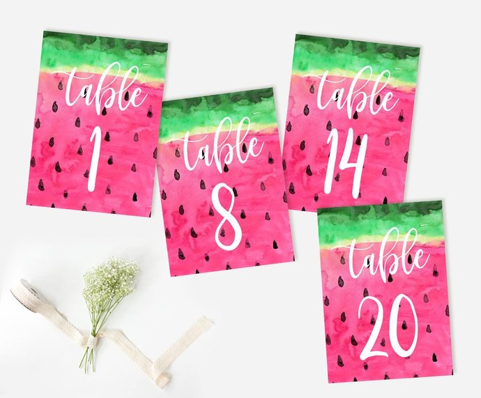 Table Numbers, Watermelon Table Numbers, Party Watermelon Table Numbers,