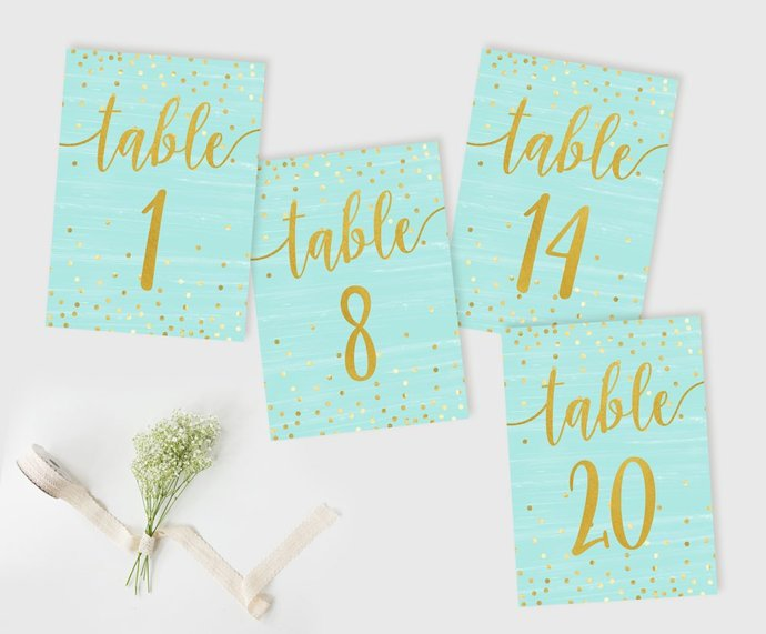 Wedding Table Numbers Mint Gold, Wedding table decorations, Reception Table
