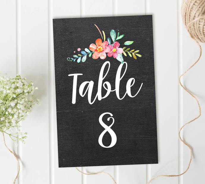 Wedding Table Numbers, Chalkboard Table Numbers, Reception Table Numbers, DIY