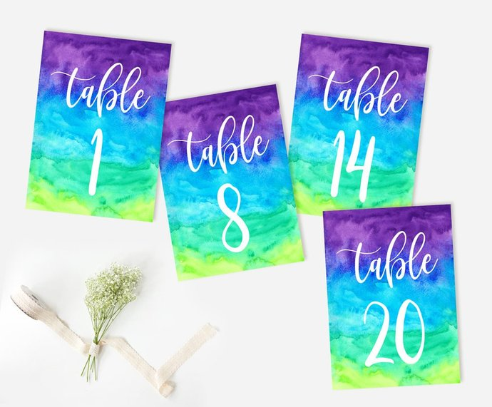 Wedding Table Numbers, Colorful Table Numbers, Reception Rainbow Table Numbers,