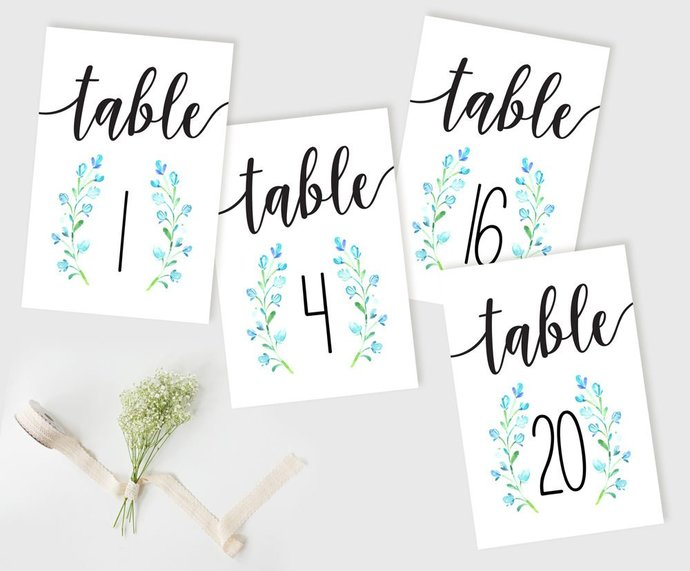 Wedding Table Cards, Bluebell Table Numbers, Reception Table Numbers, DIY