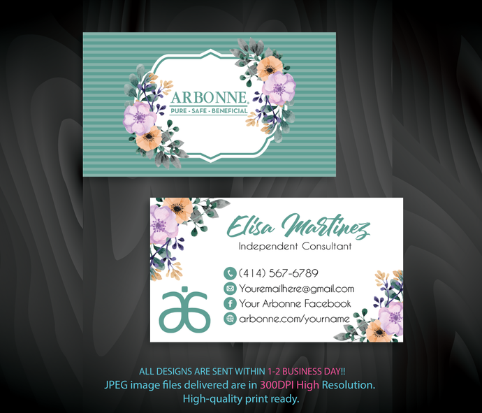 Personalized Arbonne Business Cards, Arbonne Business Card, Arbonne Consultant,