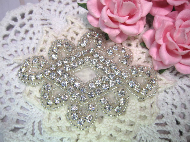 "Rhinestone Iron-on Bling Applique - 3.5"" Chinese Knots"