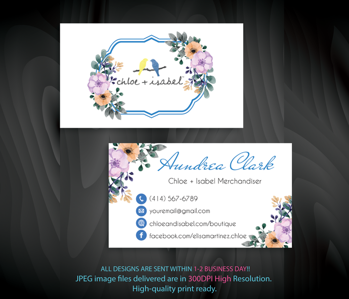 Chloe Isabel Business Cards Personalized By Digitalart On Zibbet