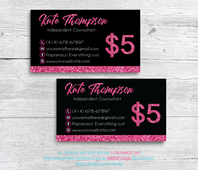 Paparazzi Business Cards, Glitter Paparazzi Card, Personalized Paparazzi