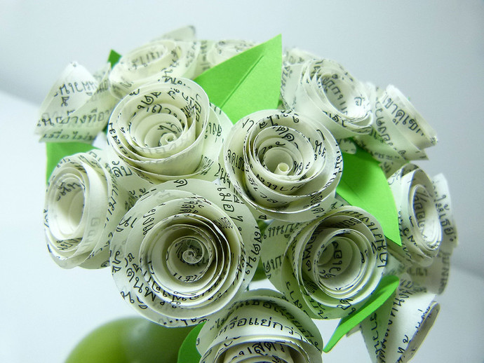 A small and special bouquet of by susetta lees paper flowers on a small and special bouquet of paper flowers handmade from book pages with the mightylinksfo