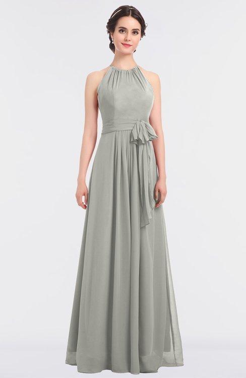Platinum Classic Halter Sleeveless Zip up Floor Length Flower Bridesmaid Dresses