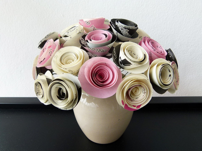 A very special bouquet by susetta lees paper flowers on a very special bouquet of paper flowers handmade from book pages with mightylinksfo