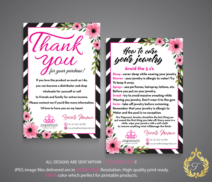 aa7ed5dd017fc Paparazzi Thank you cards, Paparazzi Care Cards, Paparazzi Thank Care Card,  Paparazzi Consultant Cards, Watercolor Cards, PP14