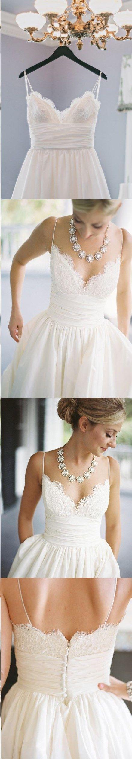 Beach Wedding Dresses Spaghetti Straps Sexy Bridal Gown