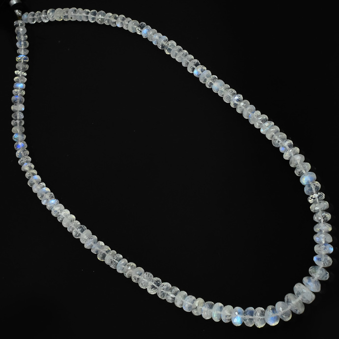 Semi Precious Micro Faceted Flawless Blue Flashy Rainbow Moonstone 6MM TO 10MM