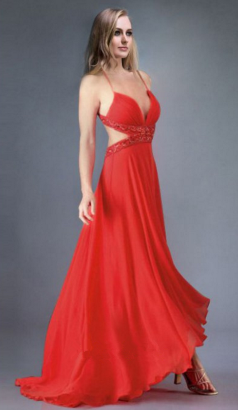 V-Neck Prom Dress,A-Line Prom Dresses,Red by prom dresses on Zibbet