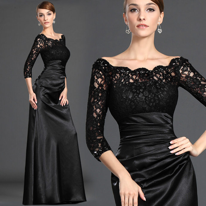 Fashion Dresses Sexy Long Sleeve Lace Evening Party Dress Prom Dress Bridesmaid