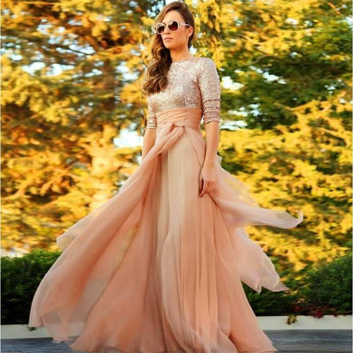Fashionable Half Sleeve Scoop Long Party Dresses A-line Sequins Chiffon Pleat