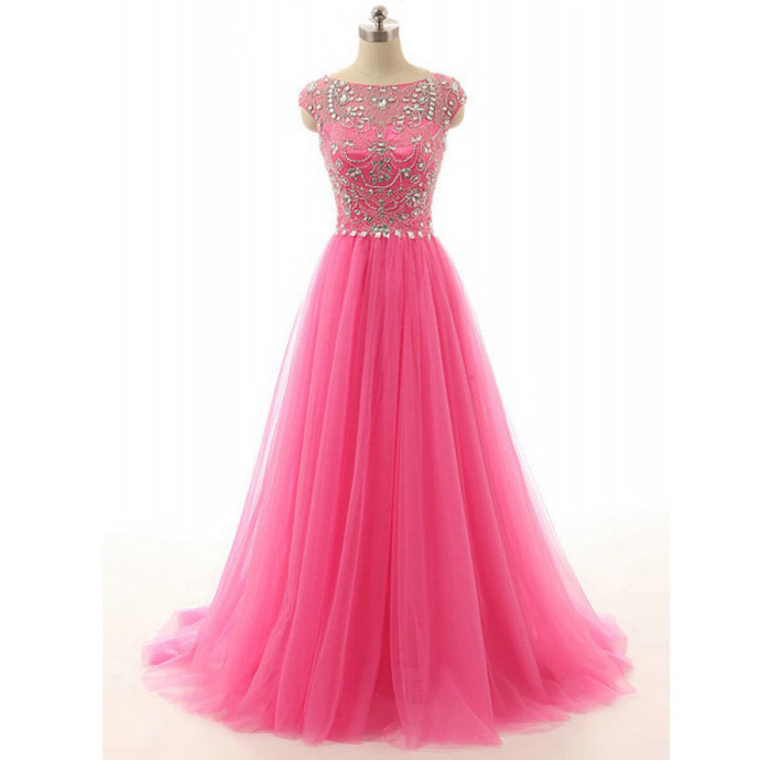 High Quality Formal Dresses,Handmade Beading Tulle Long Prom Dresses,Charming