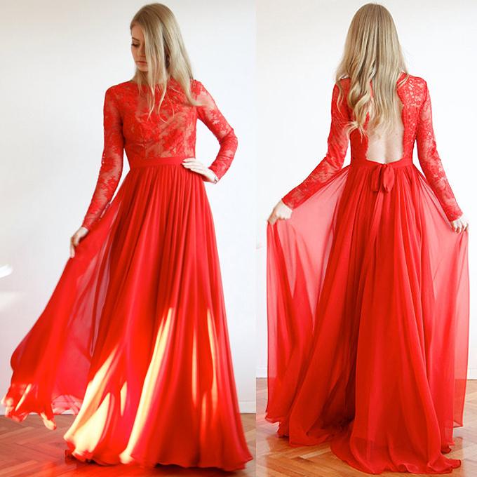 Backless Red Formal Dress,Long Prom Dresses,Prom Dresses,Evening Dress, Prom