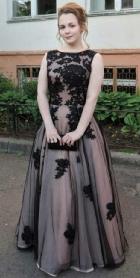 Black Lace Prom Dress,Appliqued Evening Dresses ,Real Made Evening Party