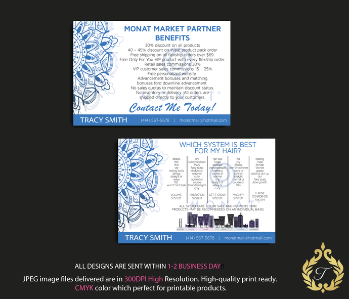 Custom Monat Hair Care Card, Fast Free Personalization, Monat Systems, Monat