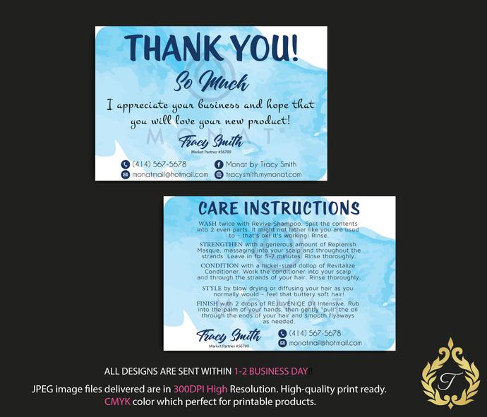 Monat Care Instruction Card Monat Thank You By Digitalart On Zibbet