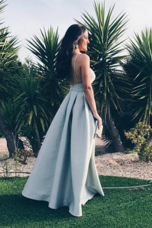 Elegant A-line Straps Backless Sleeveless Satin V-Neck Blue Long Prom Dresses
