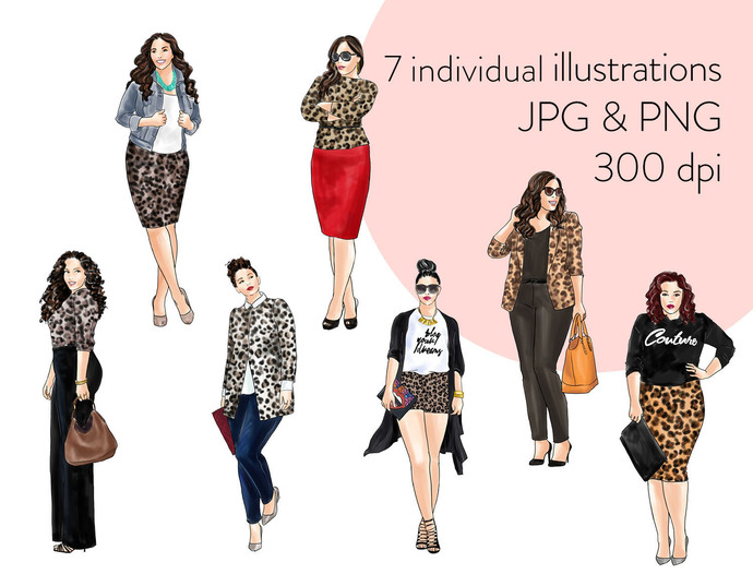 Watercolour fashion illustration clipart - Curvy Girls in Animal Print - Light