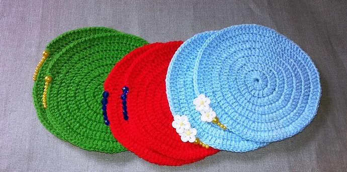 Crochet coasters,hand crochet coasters with beads,color tea coasters,green