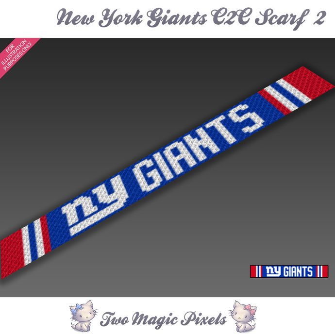 New York Giants Scarf 2 pattern; graph; pdf download; C2C row-by-row counts