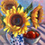Sunflowers Original Painting, Floral Art 12x12 Inches on Canvas, Gardener Gift