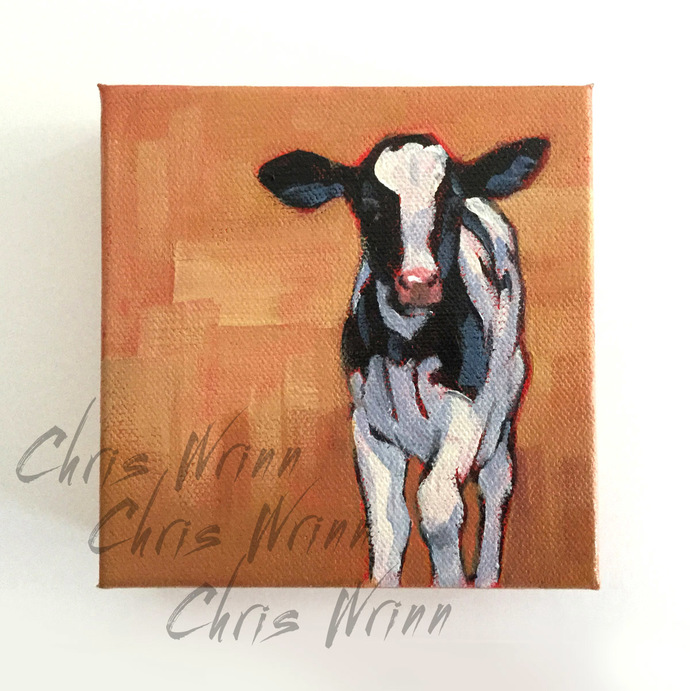 "Calf Painting on 5x5"" gallery wrapped Canvas, Farm Animal Art, Farmhouse Decor"