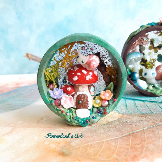 Woodland snail's home with fairy house. One of a kind. Ready to ship.