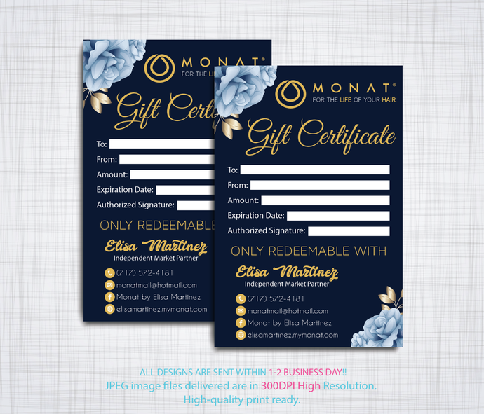 MONAT Gift Cards, Personalized Gift Certificate Cards, Monat Global Cards, Monat