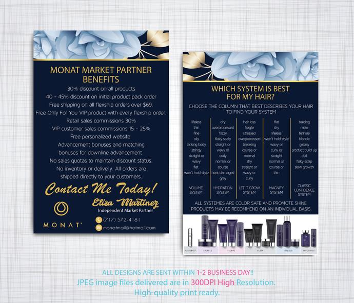 Custom Monat Hair Care Card, Monat Market Partner Benefits, Fast Free