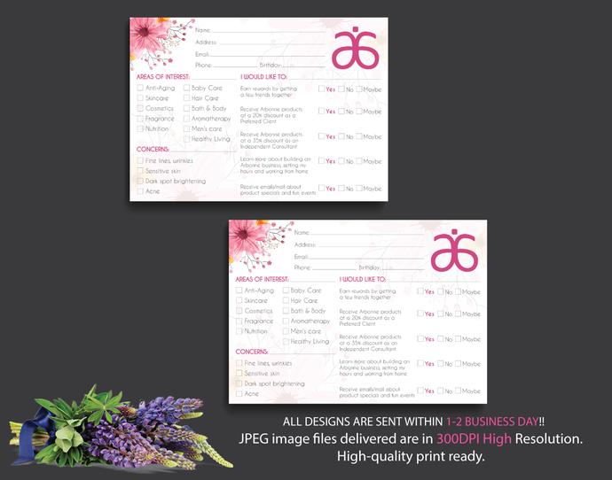 Arbonne Info Cards, Arbonne Raffle Entry Card, Watercolor Arbonne Card, Info