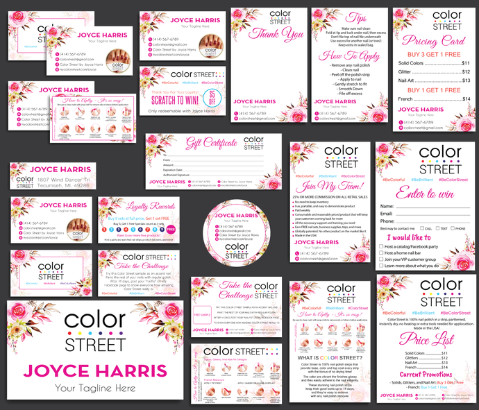 Color Street Marketing Kit, Printable Digital Cards, Color Street Marketing