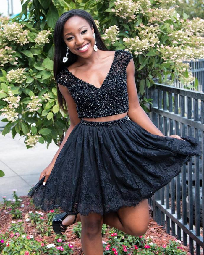 Cute Black Two Piece Short Lace Homecoming Dress with Beads