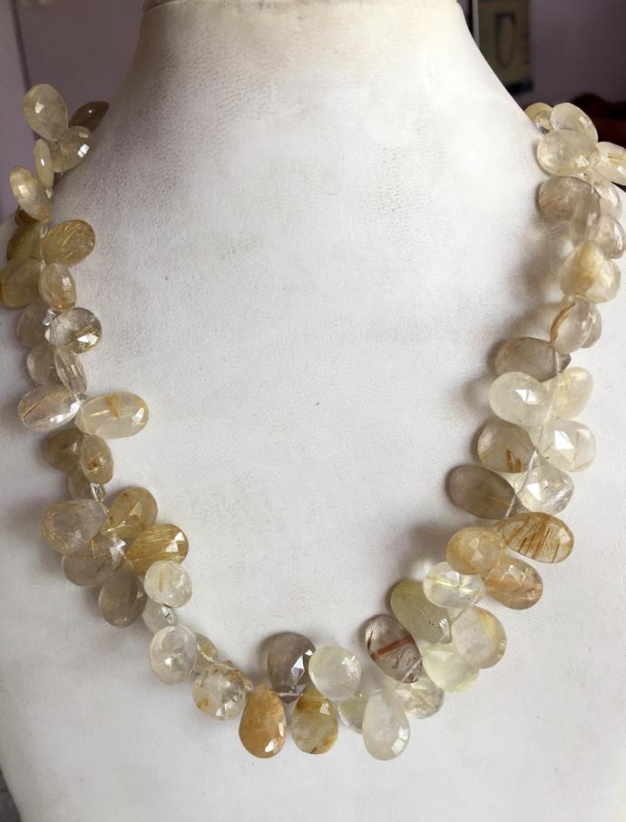 Semi Precious Gemstone  Goldern Rutile Quartz Faceted Baddam Sterling Silver
