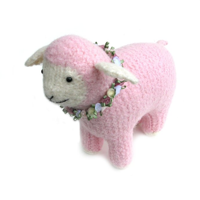 Felted Pink Lamb Stuffed Toy Animal. Nursery Decor. New Baby Shower Gift
