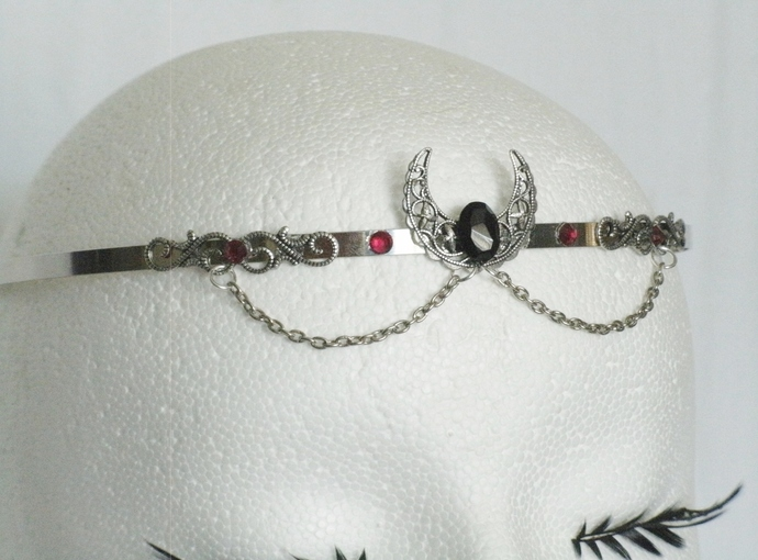 Onyx Crescent Moon Circlet wiccan pagan wicca goddess witch witchcraft headpiece