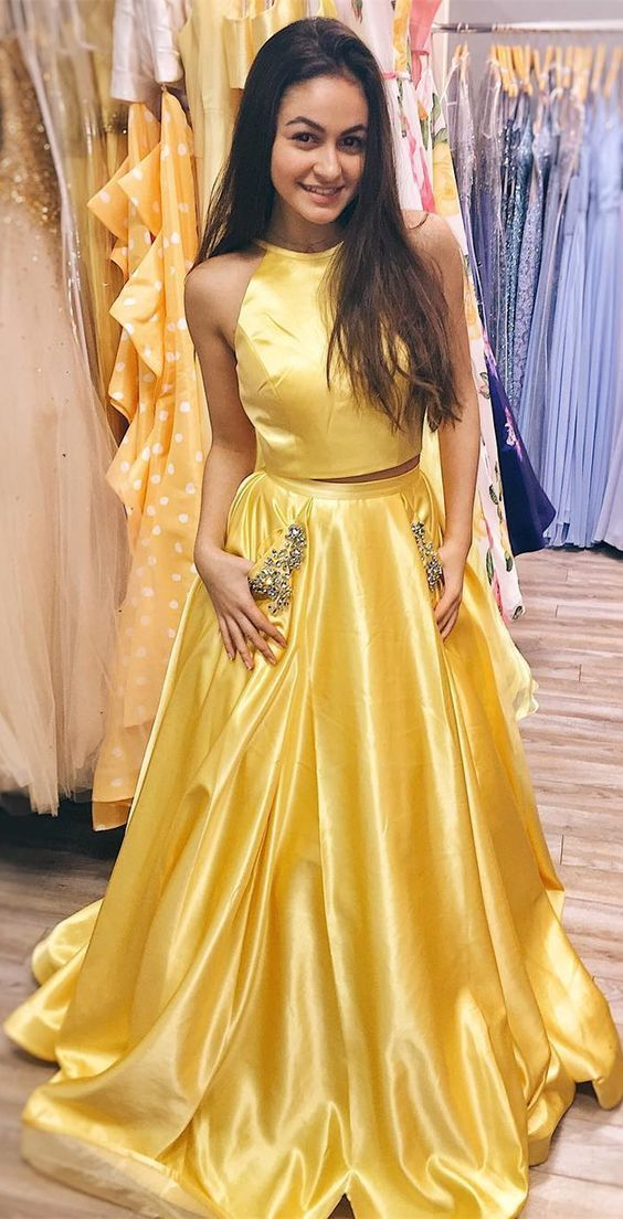 2018 Bright Yellow Two Piece Prom Dress A Line Long by lass on Zibbet