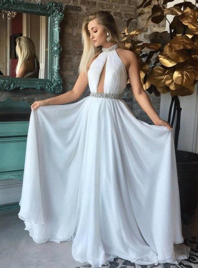 New Arrivals Beaded Halter Formal Gown White Open by lass on Zibbet