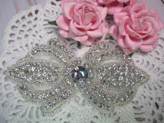 "Rhinestone Iron-on Bling Applique - 4 3/8"" Butterfly Bow"
