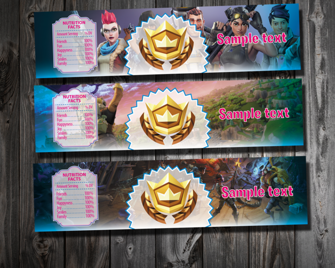 Fortnite Bottle Labels - Fortnite Candy Wrappers - Fortnite Birthday Party
