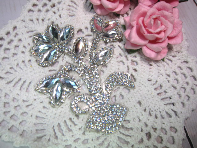 "Rhinestone Iron-on Bling Applique - 3.5"" Flower Garden"