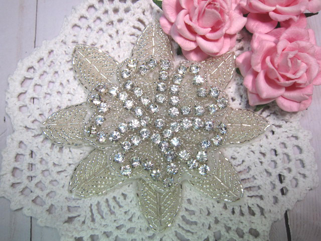 "Rhinestone Iron-on Layered Bling Applique - 4.5"" Big Pearl/Seedbead Flower"