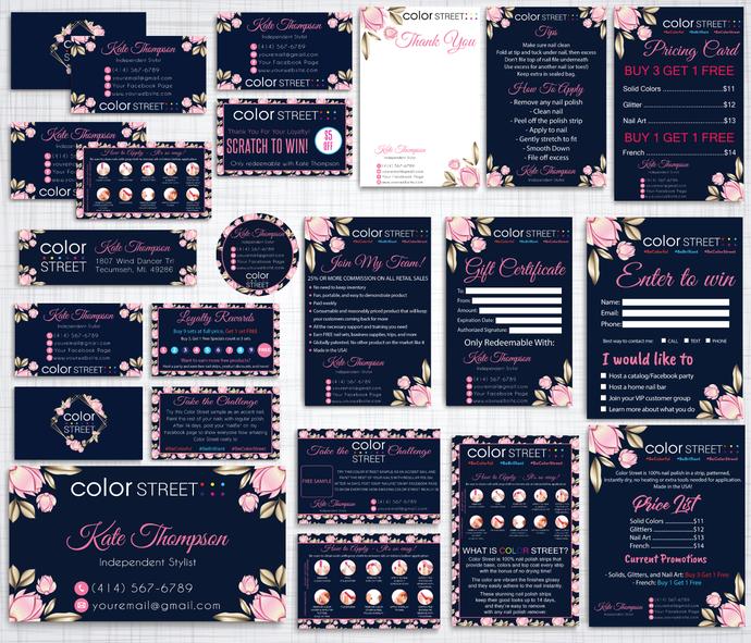 Color Street Marketing Kit, Personalized Color Street Cards, Printable Digital