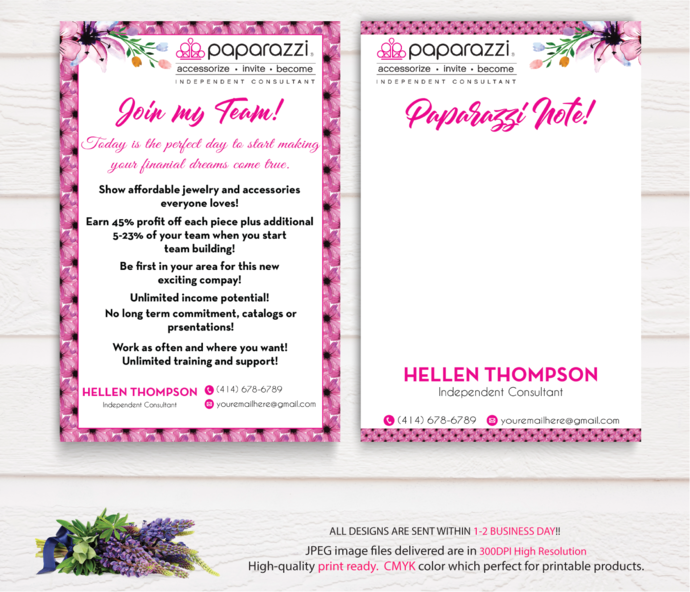 Paparazzi Join My Team cards, Paparazzi Note Cards, Paparazzi Consultant Cards,