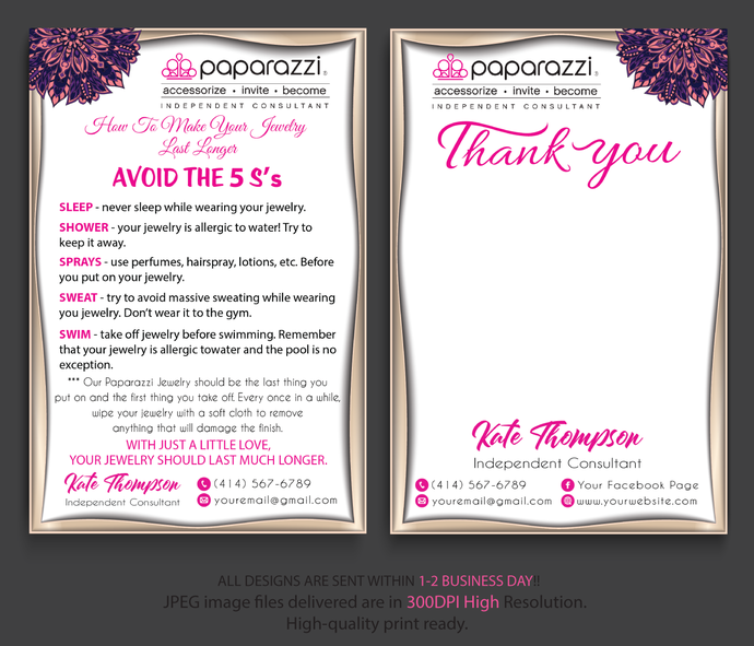 Paparazzi Thank you cards, Paparazzi Thank Care Card, Paparazzi Care Cards,