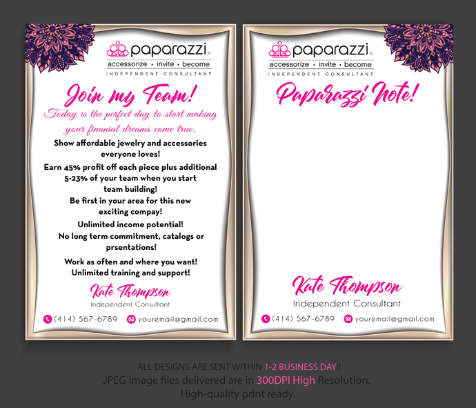 Paparazzi Note Cards, Paparazzi Consultant Cards, Paparazzi Join My Team cards,