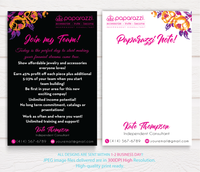 Paparazzi Note Cards, Paparazzi Join My Team cards, Join My Team cards,