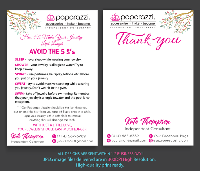 Paparazzi Care Cards, Paparazzi Thank you cards, Paparazzi Thank Care Card,